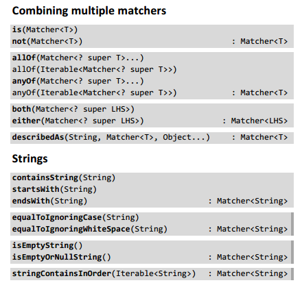 Hamcrest: Combining multiple matches, string matchers
