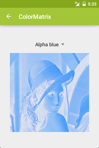 ColorMatrix: Alpha blue